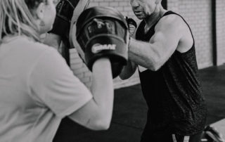 Boxing exercise at a fitness gym.