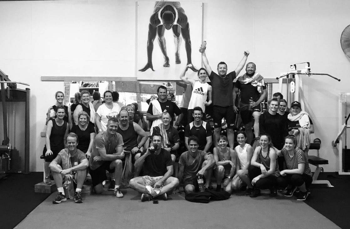 Group photo at a fitness gym